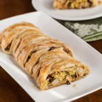 Chrysalis Vineyards: A Warm Winter (Puff Pastry Breakfast Braid with Eggs, Ham, Potatoes, Mushrooms, and Goat Cheese)