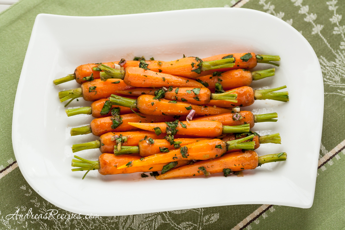 Steamed Baby Carrots with Ginger-Garlic Butter - Andrea Meyers