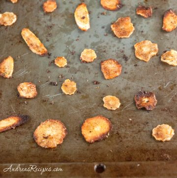 Spicy Oven-Fried Parsnip Chips - Andrea Meyers