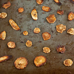 Spicy Oven-Fried Parsnip Chips
