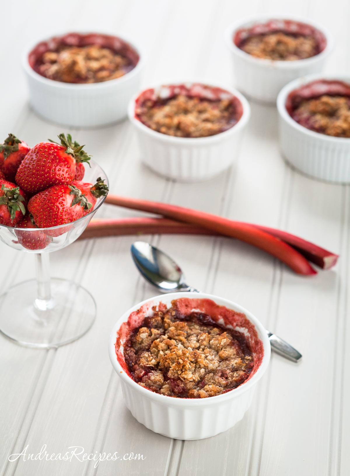 Strawberry Rhubarb Almond Crumble - Andrea Meyers