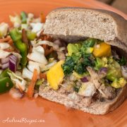 Grilled Chicken Sliders with Mango Avocado Salsa and Mexican Slaw - Andrea Meyers