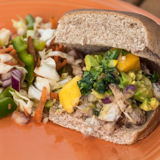 Grilled Chicken Sliders with Mango Avocado Salsa and Mexican Slaw (The Kids Cook Monday)