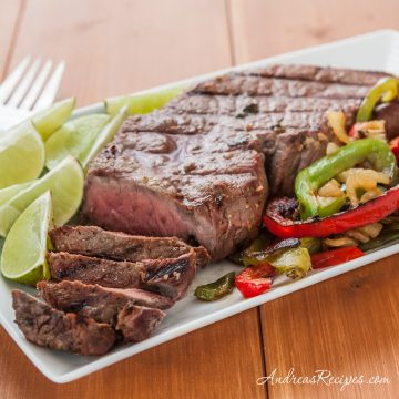Beef Fajitas with Lime Beer Marinade - Andrea Meyers