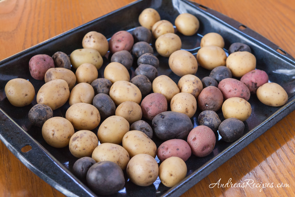 Red, blue, and yellow small potatoes - Andrea Meyers