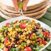 Grilled Corn Salad with Black Beans, Tomatoes, and Bell Pepper - Andrea Meyers