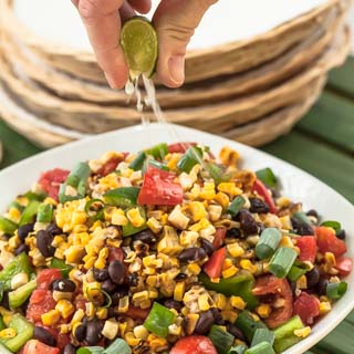 Grilled Corn Salad Recipe with Black Beans, Tomatoes, and Bell Pepper - Andrea Meyers