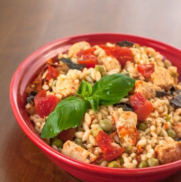 Skillet Chicken with Orzo and Tomatoes - Andrea Meyers