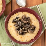 Creamy Polenta (Grits) with Sauteed Mushrooms and Onions - Andrea Meyers