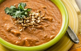 Curried Peanut, Sweet Potato, and Tomato Soup (The Kids Cook Monday)