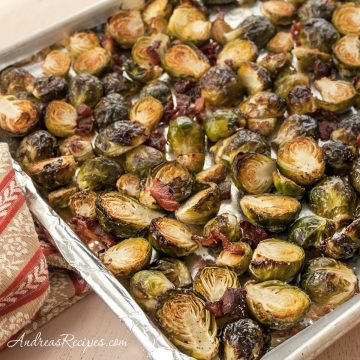 Roasted Brussels Sprouts with Bacon and Parmesan Cheese - Andrea Meyers
