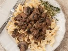 Andrea Meyers - Steak Tips with Mushroom Pepper Gravy
