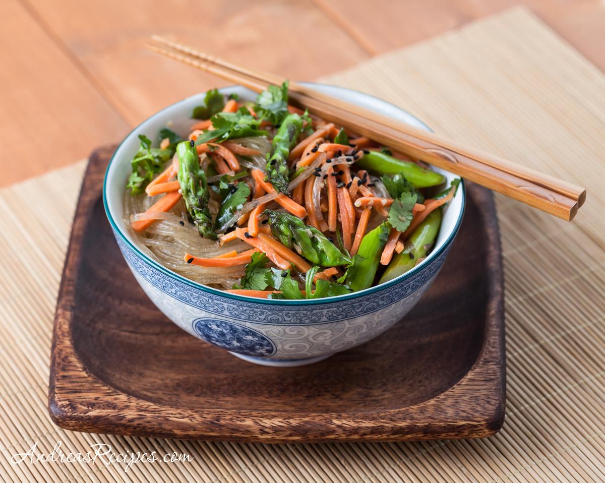 Asparagus Noodle Salad with Sesame Ginger Vinaigrette - Andrea Meyers