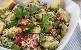 Quinoa Avocado Salad with Parsley, Corn, Tomatoes, and Lemon Vinaigrette