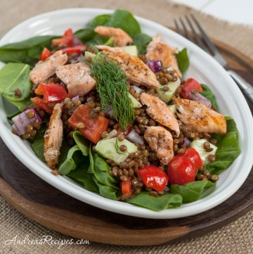 Salmon and Lentil Salad with Spinach and Lemon Dill Dressing - Andrea Meyers