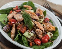 Salmon and Lentil Salad with Spinach and Lemon Dill Dressing