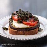 Open-Faced Grilled Eggplant Sandwich with Pesto, Tomatoes, and Fresh Mozzarella - Andrea Meyers