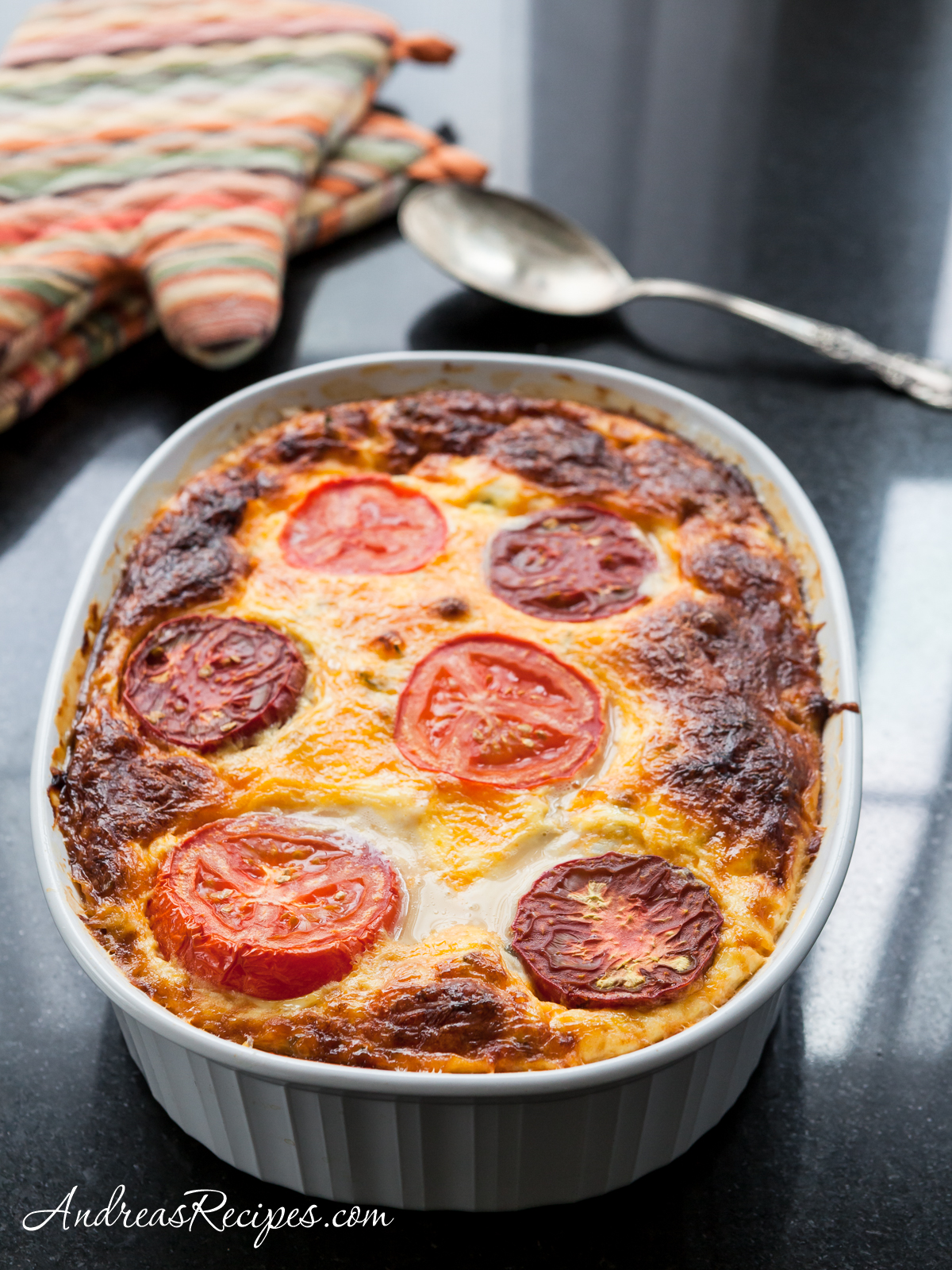 Egg and Cheese Casserole with Feta, Spinach, Mushrooms, Peppers, and Tomatoes - Andrea Meyers