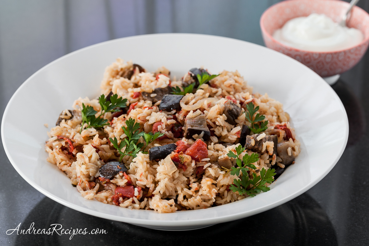 Eggplant and Tomato Pilaf with Greek Yogurt - Andrea Meyers