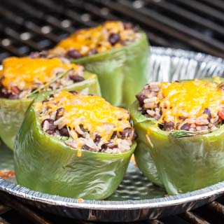 Vegetarian Grilled Mexican Stuffed Bell Peppers Recipe - Andrea Meyers