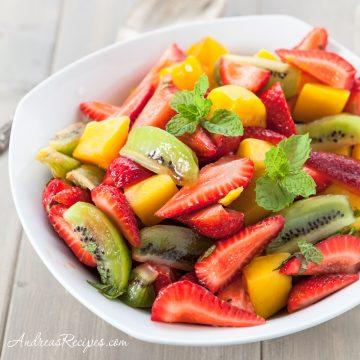 Fruit Salad with Kiwi, Strawberries, and Mango - Andrea Meyers