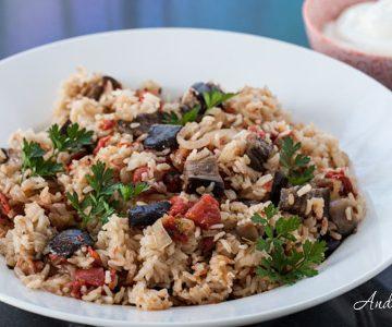 Eggplant and Tomato Pilaf Recipe with Greek Yogurt - Andrea Meyers