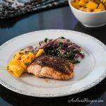Moroccan Roasted Salmon with Mango Salsa and Quinoa Spinach - Andrea Meyers