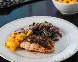 Moroccan Roasted Salmon with Mango Salsa and Quinoa Spinach