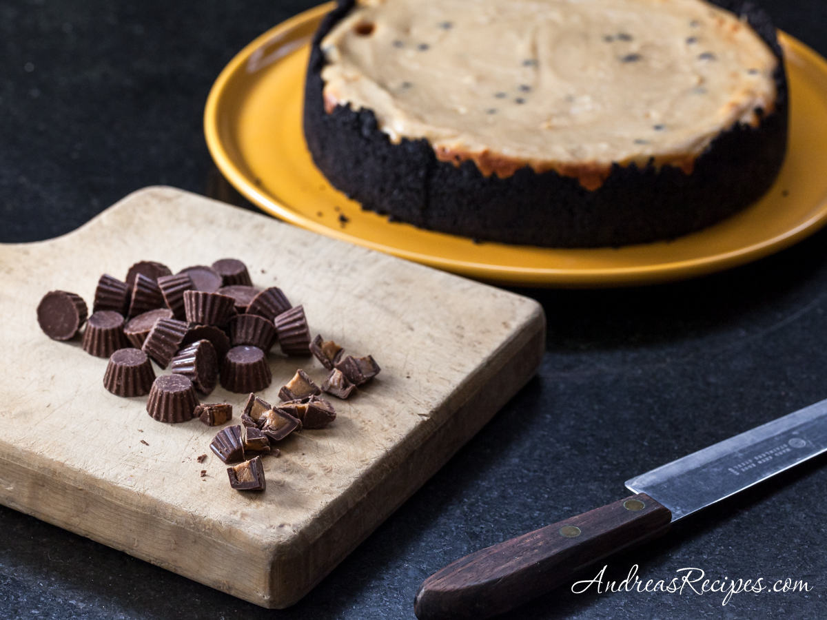 Peanut Butter and Chocolate Cheesecake with Reese's Minis - Andrea Meyers