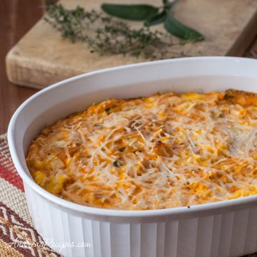 Butternut Squash and Parmesan Bread Pudding - Andrea Meyers