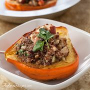 Roasted Acorn Squash with Cranberry, Apple, and Quinoa Stuffing - Andrea Meyers