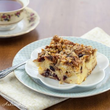 Eggnog Cranberry Bread Pudding - Andrea Meyers