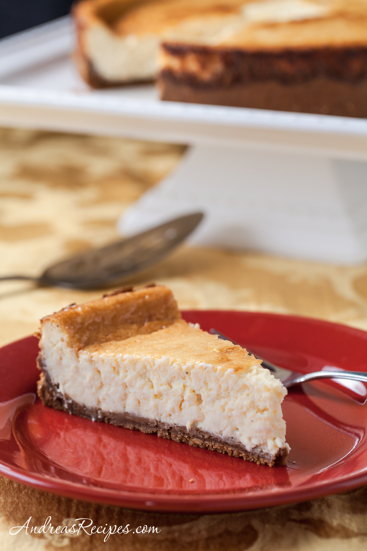 Eggnog Cheesecake with Dark Rum and Biscoff Cookie Crust - Andrea Meyers