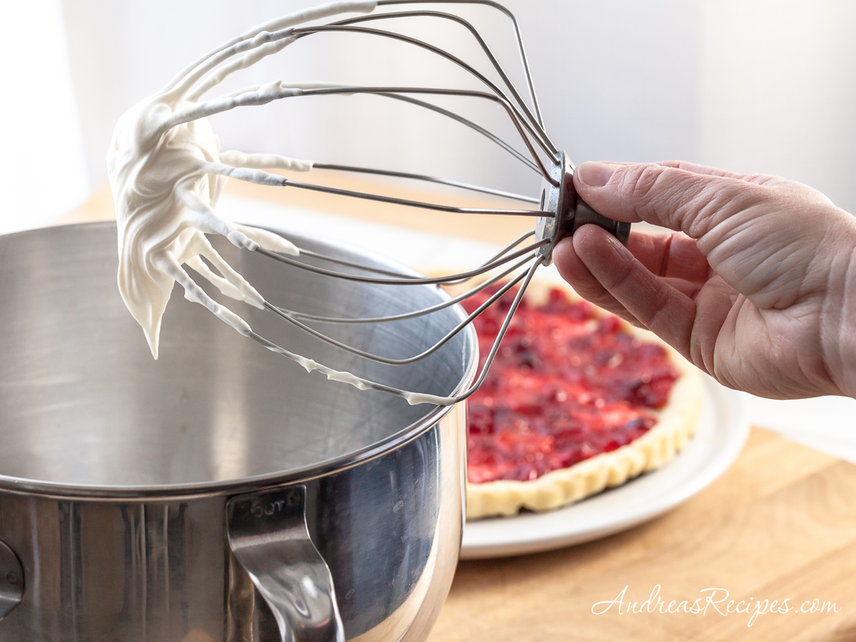 Whipped cream for Orange Cranberry Fool Tart - Andrea Meyers