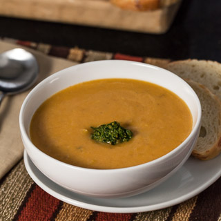 Butternut Squash and Cannellini Bean Bisque with Parsley, Sage, and Pistachio Pesto