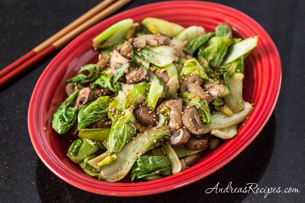 Stir-Fried Baby Bok Choy Recipe with Shiitake Mushrooms - Andrea Meyers