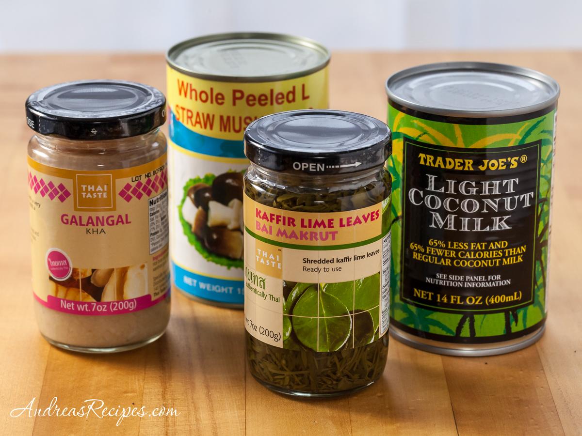 Thai Chicken Coconut Soup (Tom Kah Gai) ingredients - Andrea Meyers