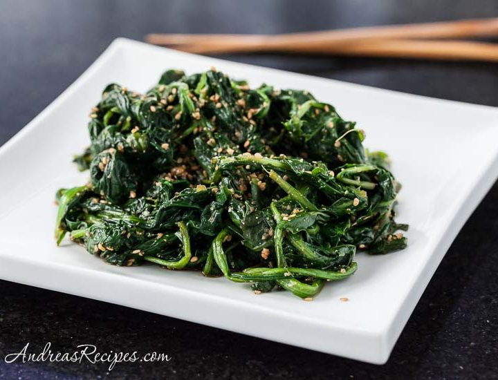 Japanese Sesame Spinach Salad with Dandelion Greens, Goma-ae - Andrea Meyers