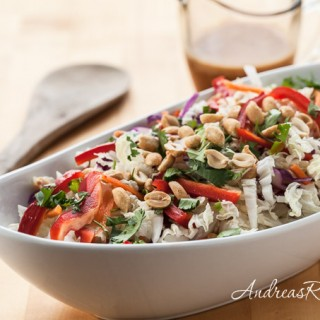 Thai Cabbage Salad Recipe with Spicy Peanut Butter Dressing - Andrea Meyers
