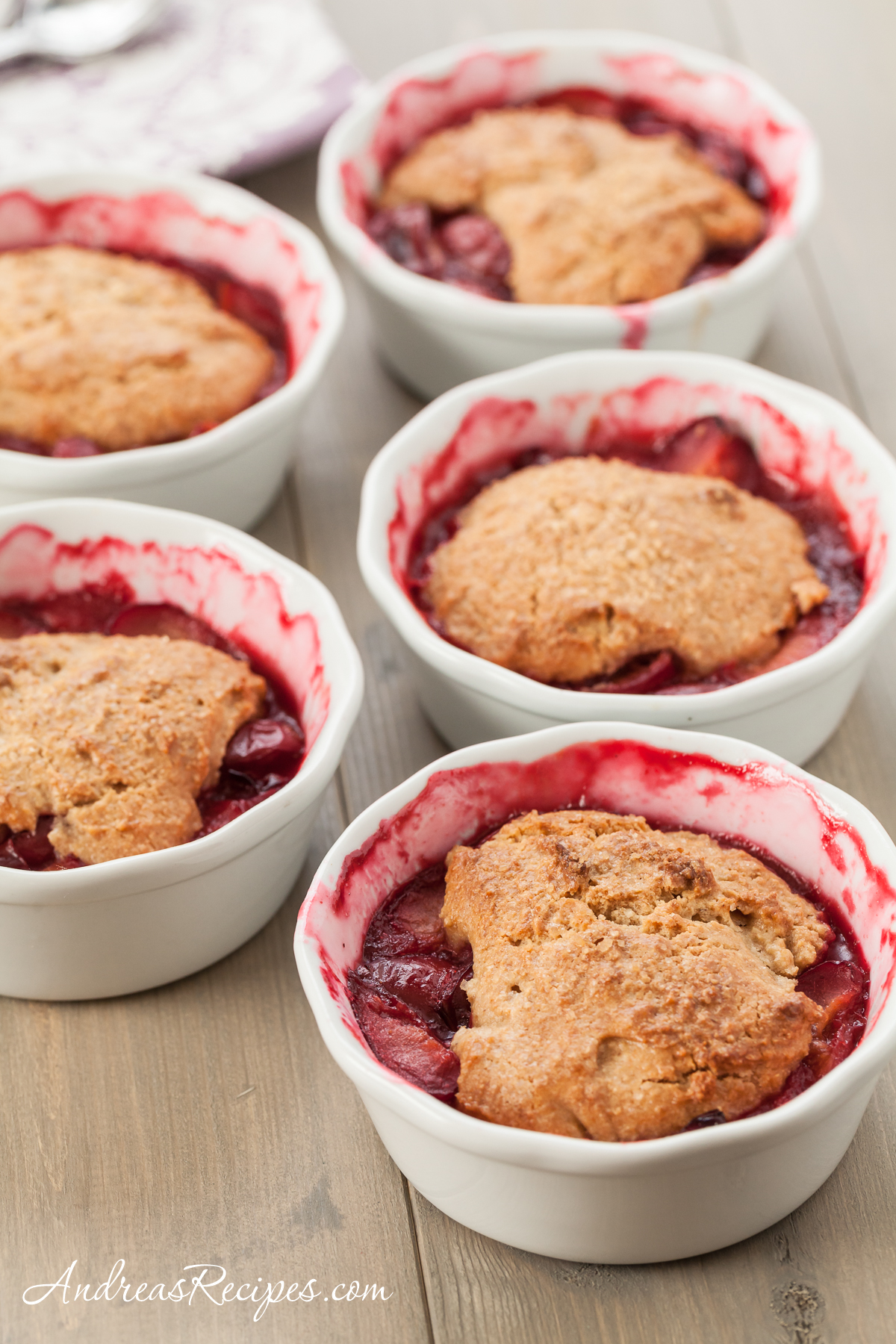 Plum Cobbler with Whole Grain Biscuits - Andrea Meyers