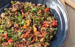 Grilled Eggplant Salad with Lentils and Tomatoes (The Kids Cook Monday)