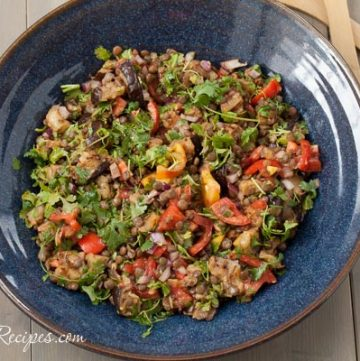 Grilled Eggplant Salad with Lentils and Tomatoes - Andrea Meyers