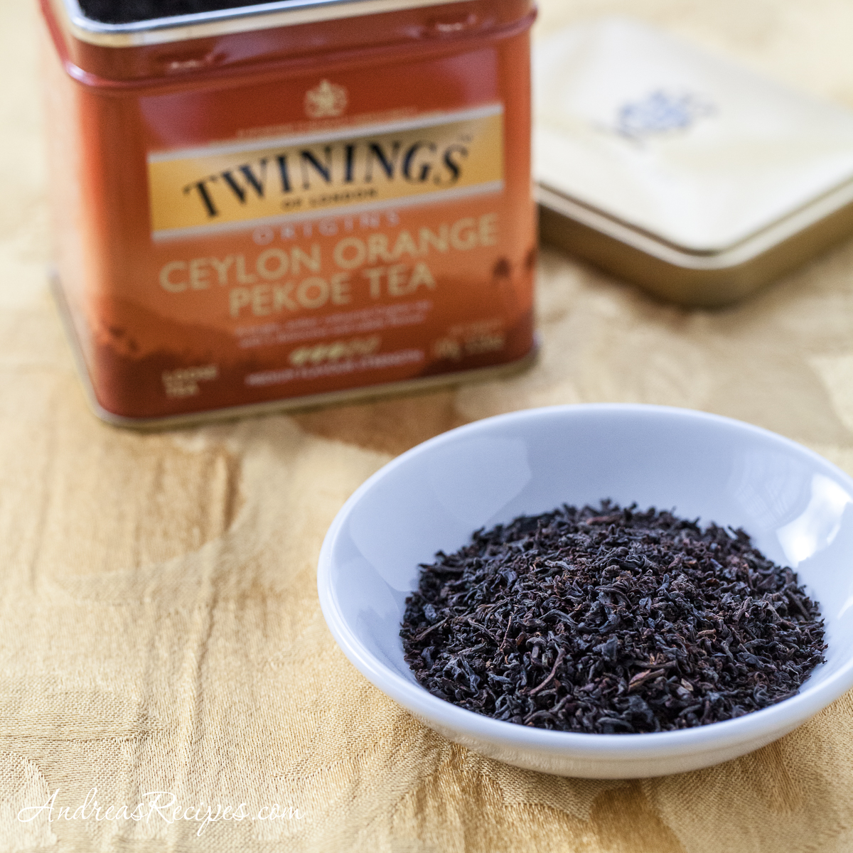 Twinings Ceylon Orange Pekoe Tea leaves and tin - Andrea Meyers