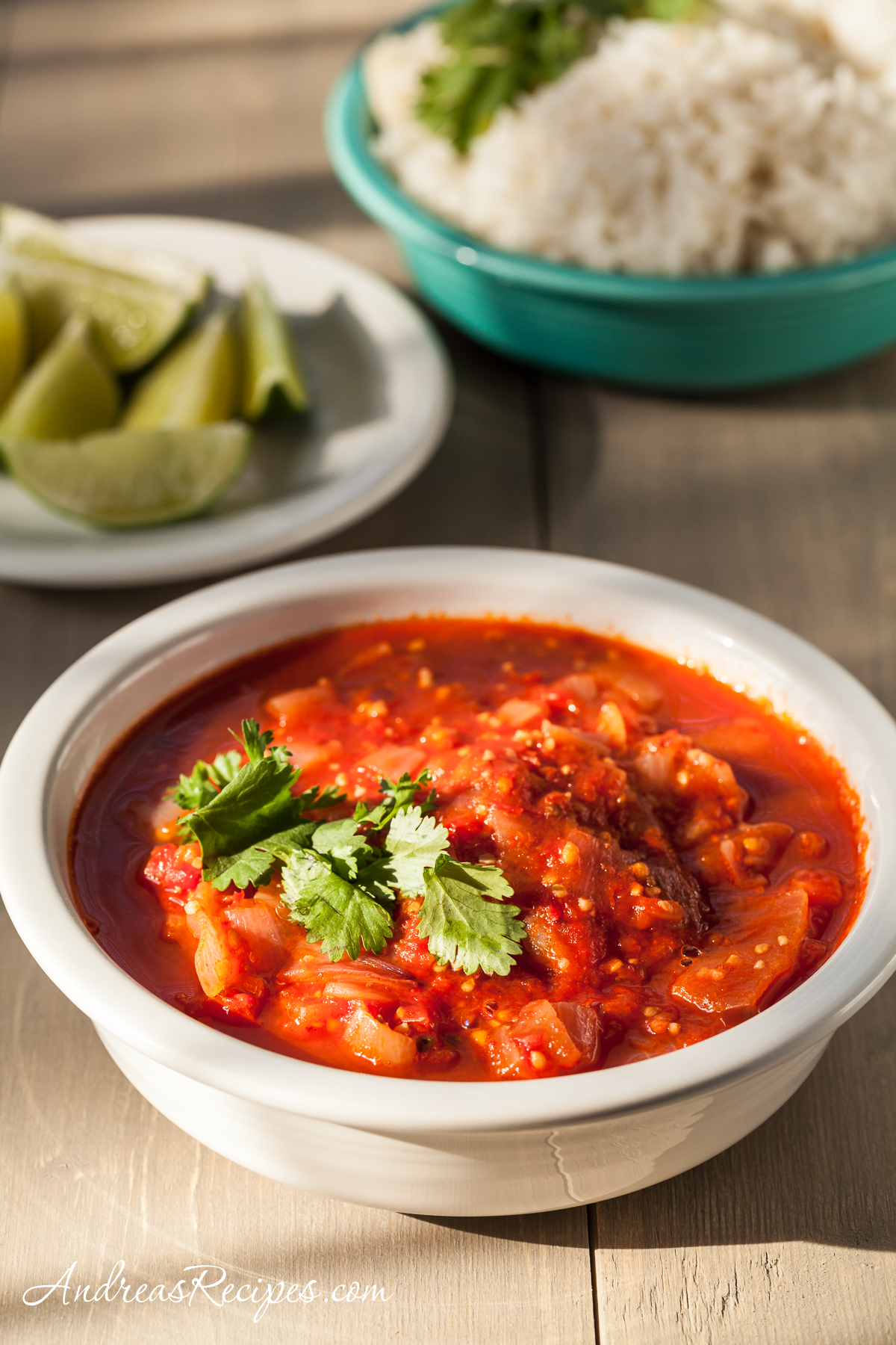 Coconut Rice with Spicy Tomato Sauce (Nasi Lemak with Sambal Tomat) - Andrea Meyers