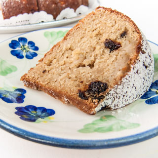 Brown Sugar Cake with Prunes and Apples