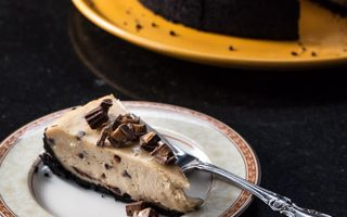 Peanut Butter and Chocolate Cheesecake with Reese's Minis