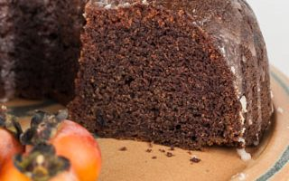Spiced Persimmon Cake with Dates and Lemon Glaze