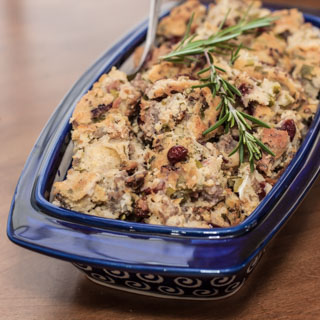 Gluten-Free Cornbread and Sausage Stuffing with Herbs - Andrea Meyers