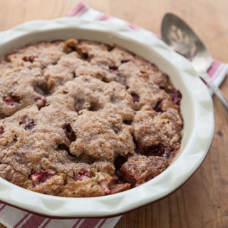 Whole Wheat Strawberry Rhubarb Coffee Cake - Andrea Meyers