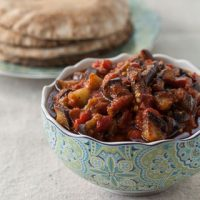 Middle Eastern Eggplant and Tomato Salad - Andrea Meyers